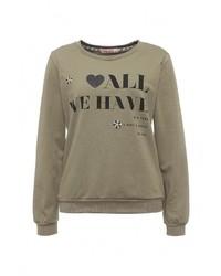 Женский оливковый свитер с круглым вырезом от Chic Chic