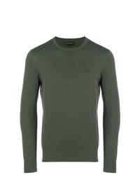 Мужской оливковый свитер с круглым вырезом от Emporio Armani