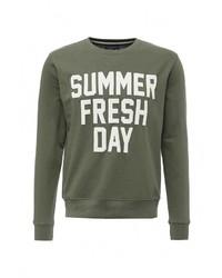Мужской оливковый свитер с круглым вырезом от Fresh
