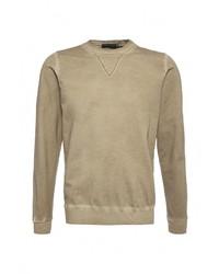 Мужской оливковый свитер с круглым вырезом от Massimiliano Bini
