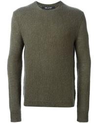 Мужской оливковый свитер с круглым вырезом от Neil Barrett