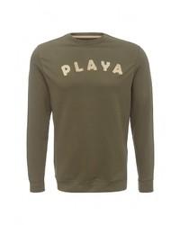 Мужской оливковый свитер с круглым вырезом от Piazza Italia