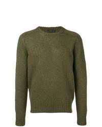 Мужской оливковый свитер с круглым вырезом от Prada