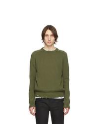 Мужской оливковый свитер с круглым вырезом от Saint Laurent