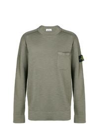 Мужской оливковый свитер с круглым вырезом от Stone Island