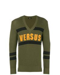 Оливковый свитер с v-образным вырезом с принтом
