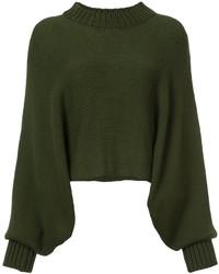 Оливковый свободный свитер