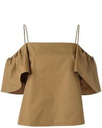 Оливковый топ с открытыми плечами от Fendi