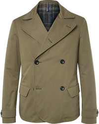Мужской оливковый хлопковый двубортный пиджак от Incotex