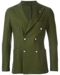 Мужской оливковый хлопковый двубортный пиджак от Tagliatore