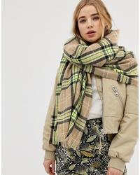 Женский оливковый шарф в шотландскую клетку от New Look