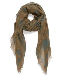 Оливковый шарф с принтом