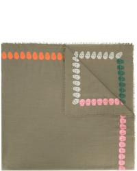Женский оливковый шарф от Alexander McQueen