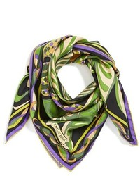Оливковый шелковый шарф с принтом