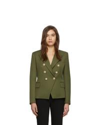 Женский оливковый шерстяной двубортный пиджак от Balmain