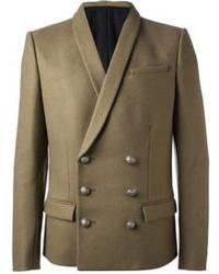 Мужской оливковый шерстяной двубортный пиджак от Balmain