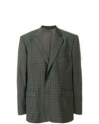 Мужской оливковый шерстяной пиджак в клетку от Balenciaga