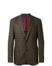 Мужской оливковый шерстяной пиджак в клетку от Fashion Clinic Timeless