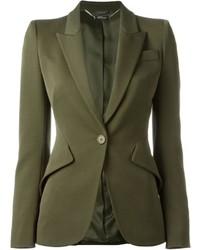 Оливковый шерстяной пиджак