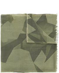 Мужской оливковый шерстяной шарф с геометрическим рисунком от Closed