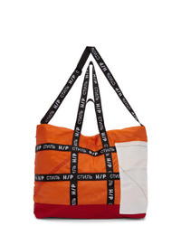 Оранжевая большая сумка из плотной ткани