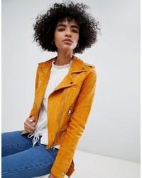 Оранжевая замшевая косуха