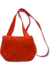 Оранжевая замшевая сумка через плечо