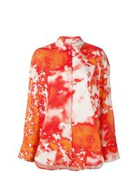 Оранжевая классическая рубашка с принтом тай-дай