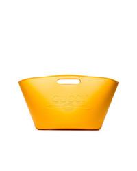 Мужская оранжевая кожаная большая сумка от Gucci