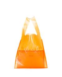 Мужская оранжевая кожаная большая сумка от Maison Margiela