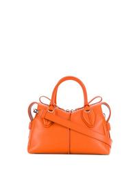 Мужская оранжевая кожаная большая сумка от Tod's