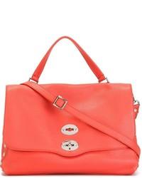 Женская оранжевая кожаная сумка-саквояж от Zanellato