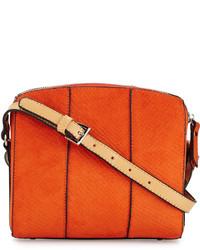 Оранжевая кожаная сумка через плечо со змеиным рисунком