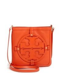Оранжевая кожаная сумка через плечо