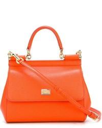 Женская оранжевая кожаная сумочка от Dolce & Gabbana
