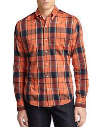 Оранжевая рубашка с длинным рукавом в шотландскую клетку