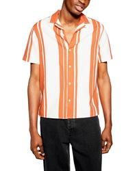 Оранжевая рубашка с коротким рукавом в вертикальную полоску