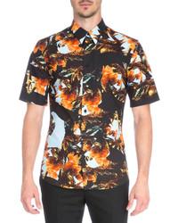 Оранжевая рубашка с коротким рукавом с принтом