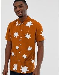Мужская оранжевая рубашка с коротким рукавом с принтом от Farah