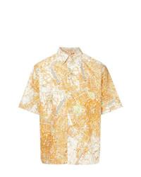 Мужская оранжевая рубашка с коротким рукавом с принтом от MSGM