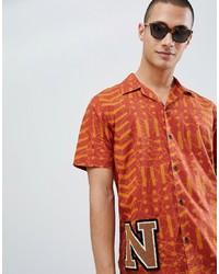 Мужская оранжевая рубашка с коротким рукавом с принтом от Nudie Jeans