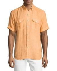 Оранжевая рубашка с коротким рукавом