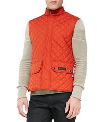 Оранжевая стеганая куртка без рукавов