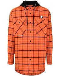 Мужская оранжевая фланелевая рубашка с длинным рукавом в шотландскую клетку от AAPE BY A BATHING APE