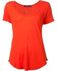 Оранжевая футболка с круглым вырезом