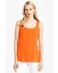 Оранжевая шелковая майка