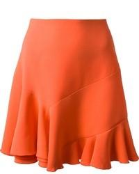 Оранжевая шелковая пышная юбка