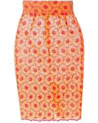 Оранжевая юбка-карандаш с цветочным принтом