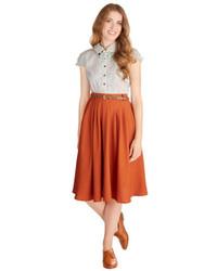 Оранжевая юбка-миди со складками