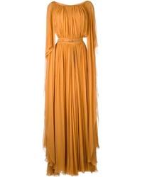Оранжевое вечернее платье со складками